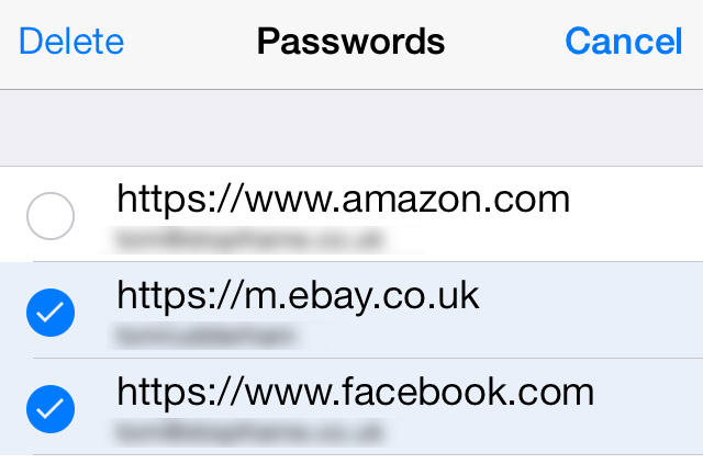 Delete passwords iCloud Keychain