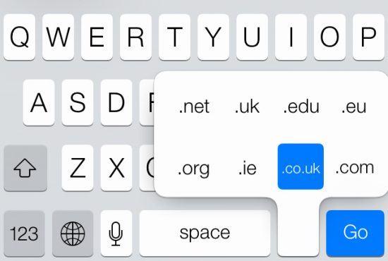 Enter domains with the iPhone keyboard