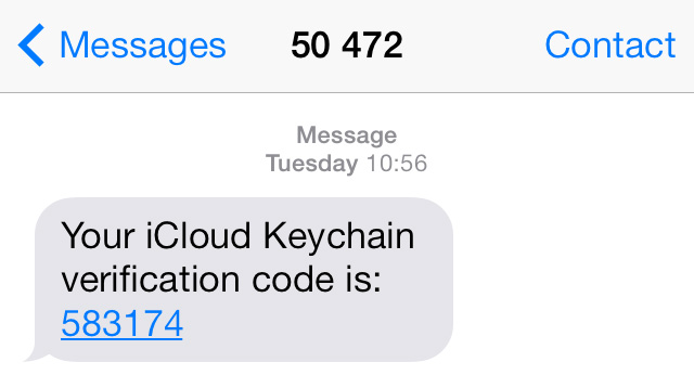 iCloud Keychain SMS