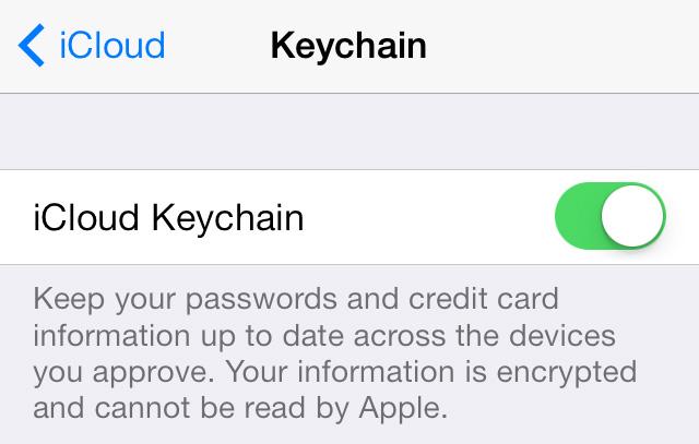 iCloud Keychain iCloud toggle