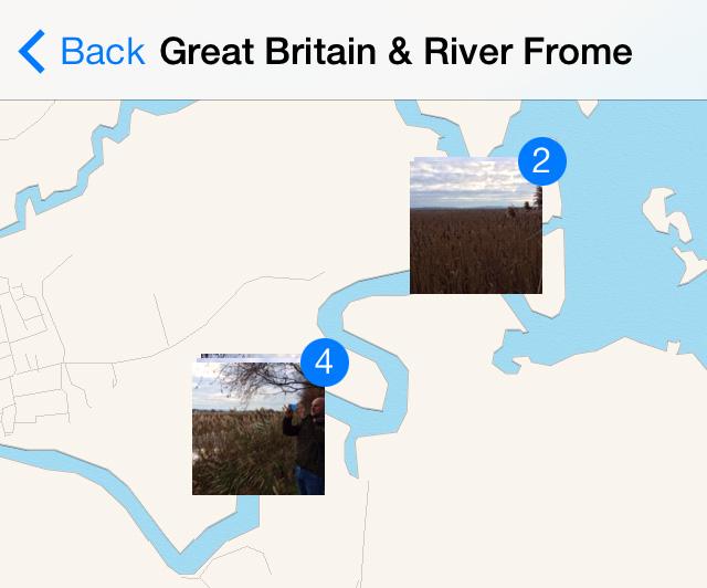 Photos on a map iPhone iOS 7
