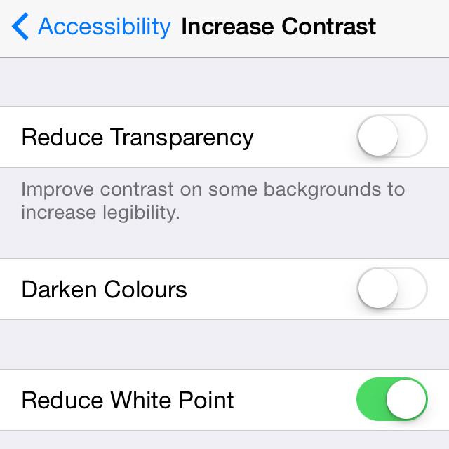 iOS 7 beta 3 Reduce White Point