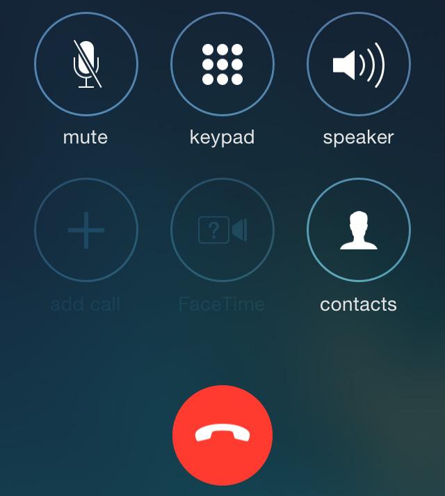 iOS 7 beta 3 phone buttons
