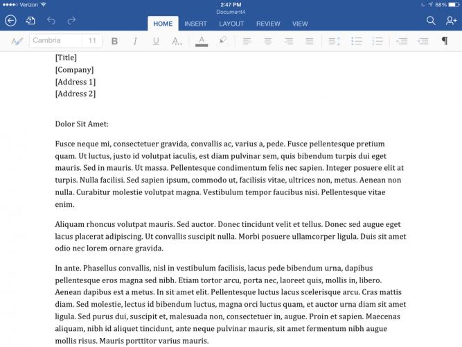 Microsoft Word for iPad