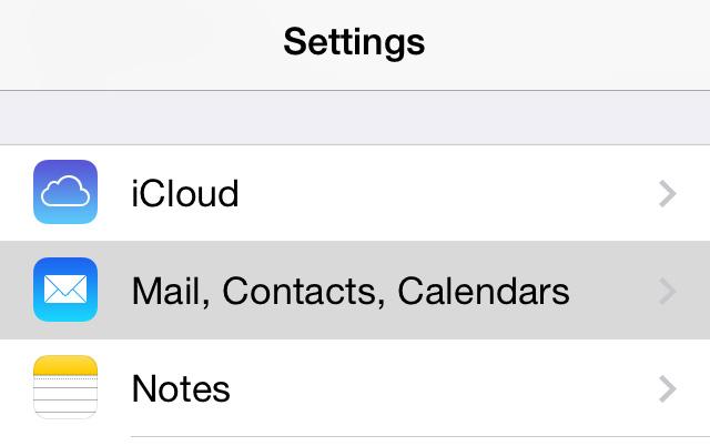 Settings app Mail option