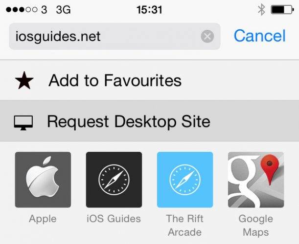 iOS 8 Request Desktop Website Safari