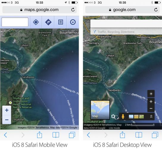 iOS 8 Safari Desktop Mobile Views